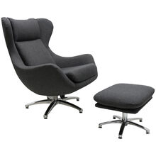 Dune Gray Swivel Chair With Ottoman