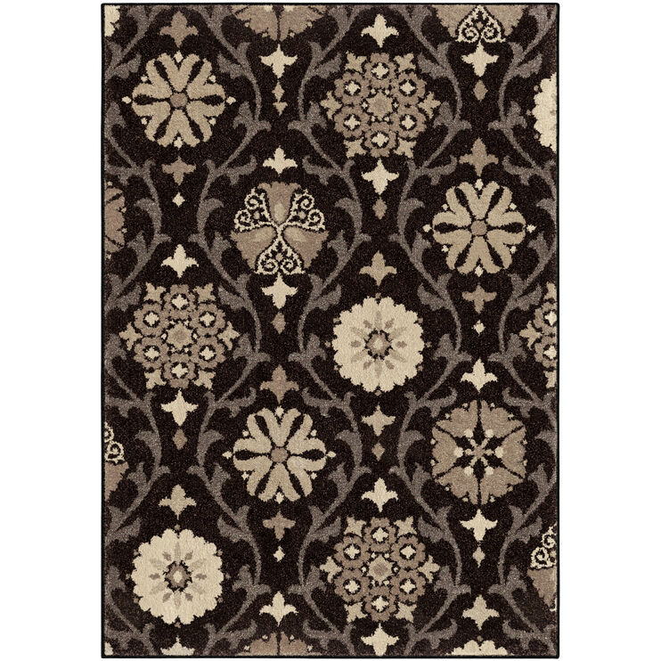 Heritage Chico Gray and Black Medallions Seal 8 x 11 Rug