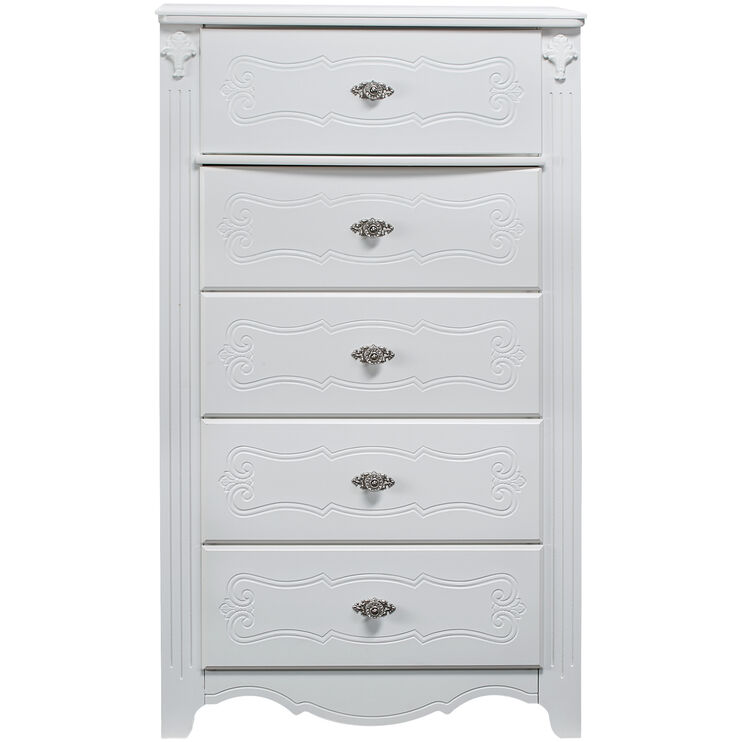 Exquisite White 5 Drawer Chest