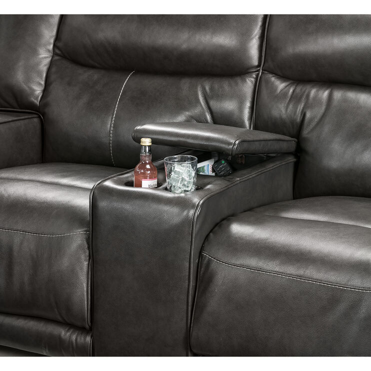Tompkins Gray Power Reclining Console Loveseat