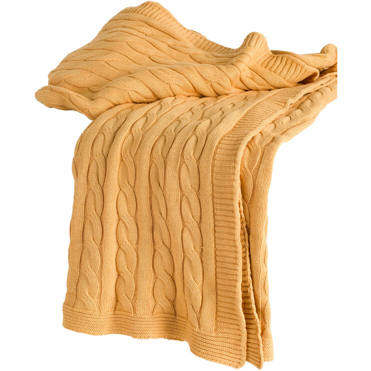 Cozy Yellow Cable Knit Throw