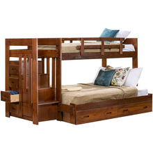 Tanglewood Chocolate Twin over Full Stair Storage Bunk Bed