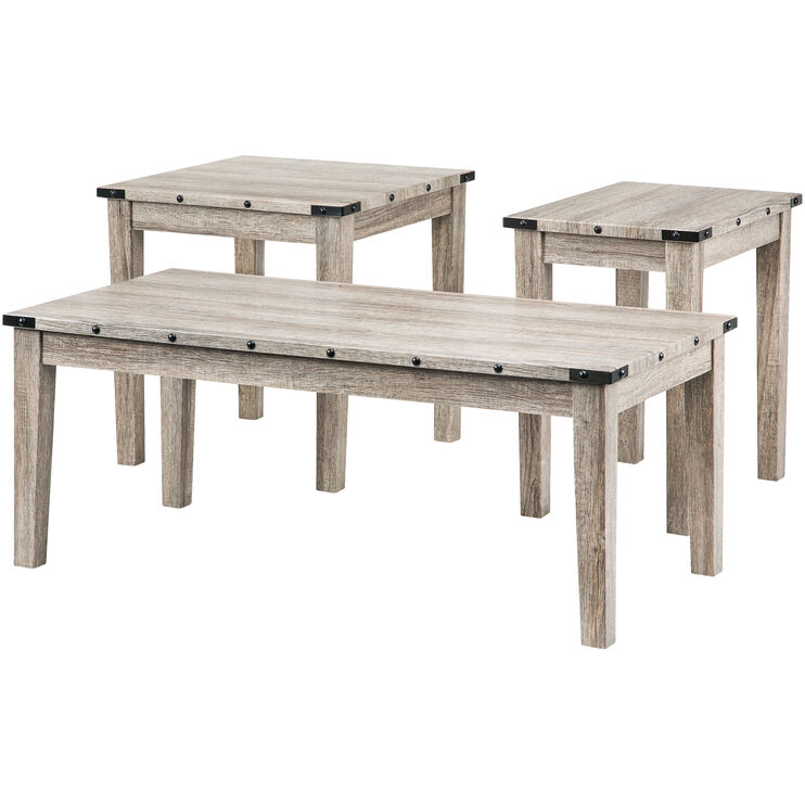 Taos Washed Gray Oak 3 Pack Table Set