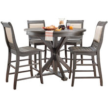 Willow 5Pc Gray Round Counter Dining