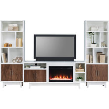 "Draper 3Pc 68"" White Fireplace Pkg"