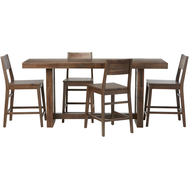 Rye 5 Piece Rustic Brown Counter Height Dining Set