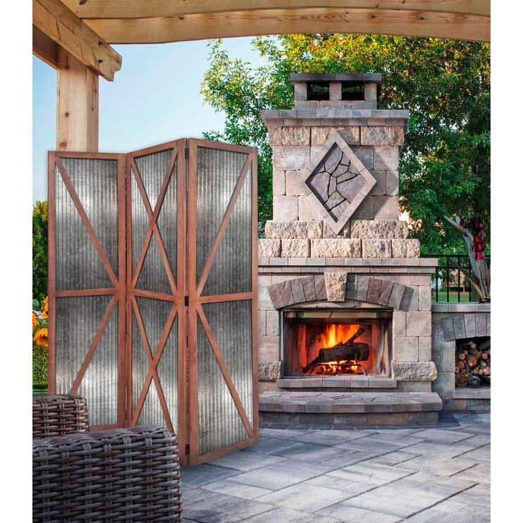 Farmhouse Washed Brown Industrial Screen