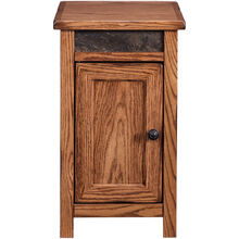 Evanston Antique Oak Rustic Storage Chairside Table