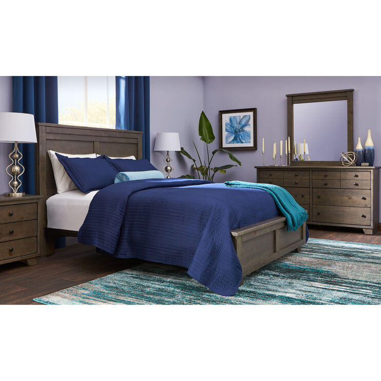 Diego 4 Piece Gray Queen Package with Metal Rails