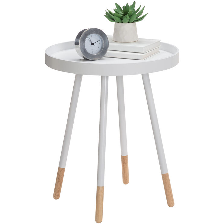 Rubi White Round Accent Table