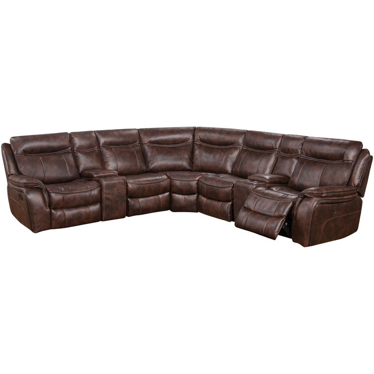 Apex Tobacco 7 Piece Glider Sectional