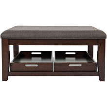 Phalen Dark Brown Upholstered Top Coffee Table
