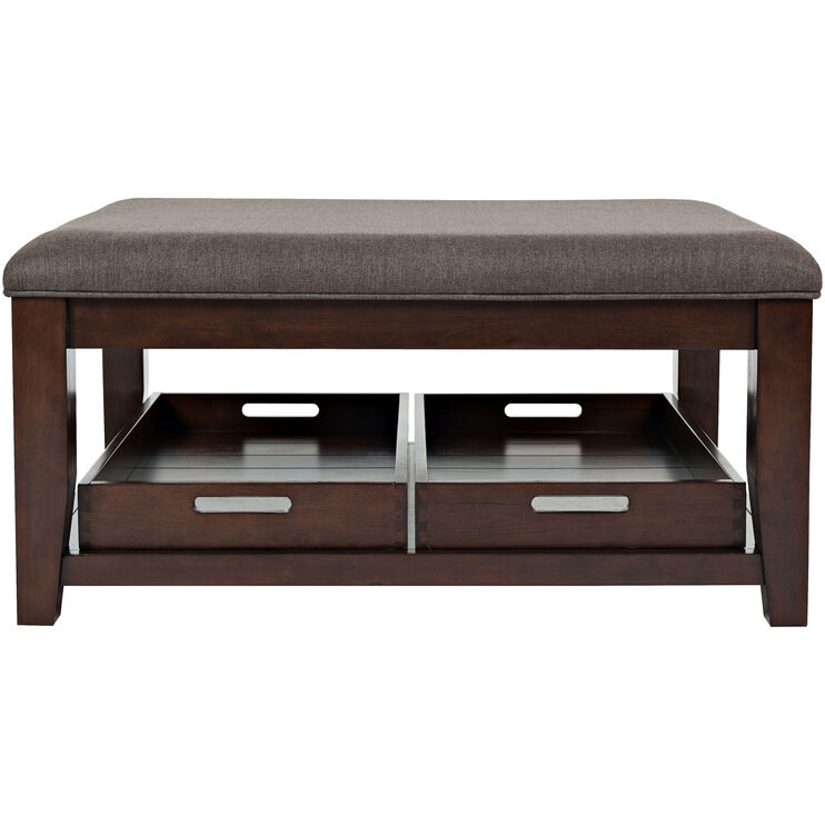 Twin Cities Dark Brown Upholstered Top Coffee Table