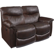 James Leather Walnut Reclining Loveseat