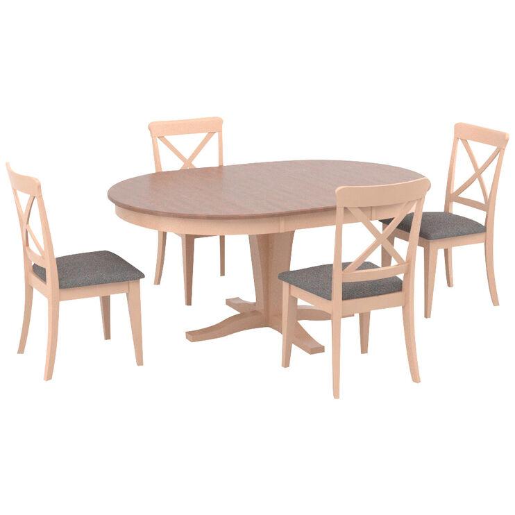 Kirkland Linen County White 5 Piece X Back Dining Set
