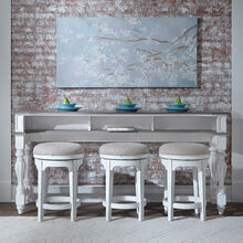 Magnolia Manor White Bar Table and 3 Stools