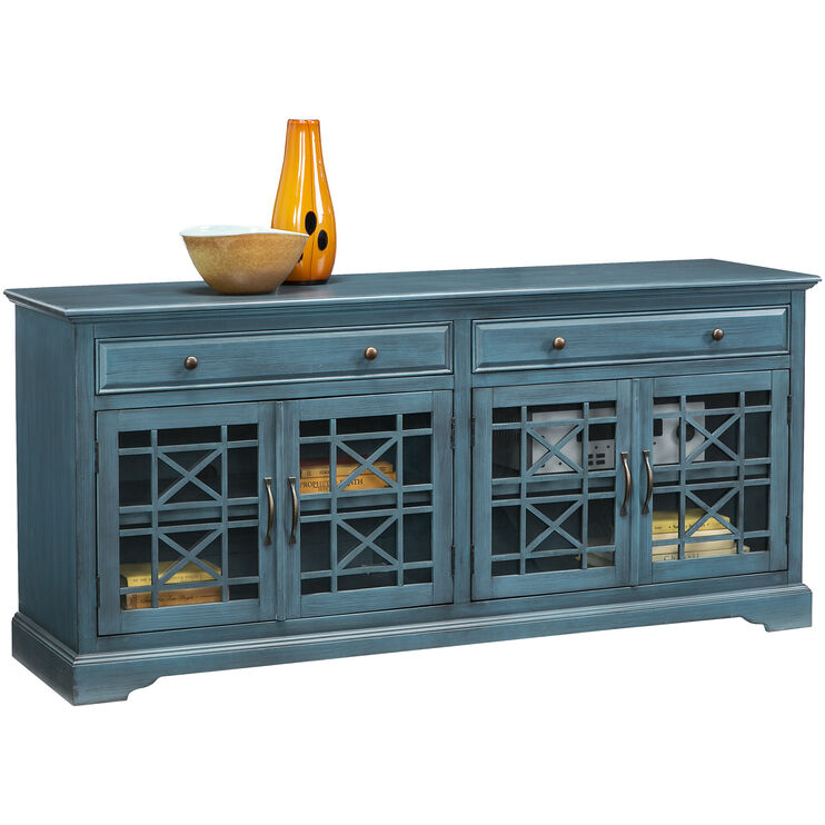 "Chilton 70"" Antique Blue Console"