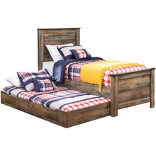Trinell Rustic Plank Twin Panel Bed with Trundle