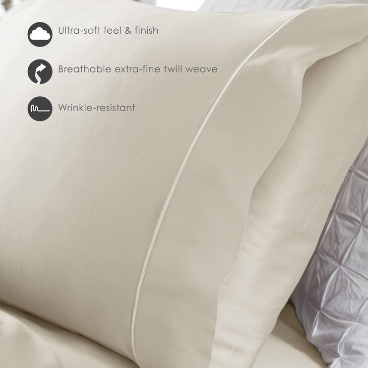 Fabrictech Ivory Queen Luxury Microfiber Pillowcase