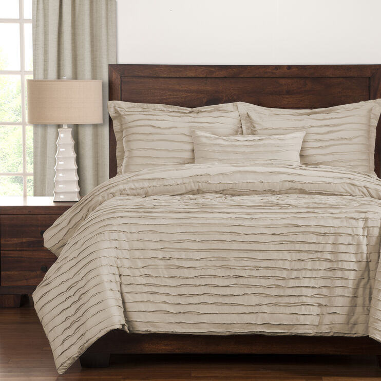 Slumberland Furniture Tattered 5pc Almond King Duvet Set