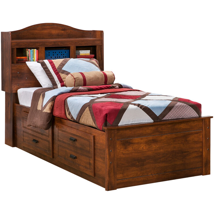 Barchan Brown Twin Bookcase Double Captains Bed