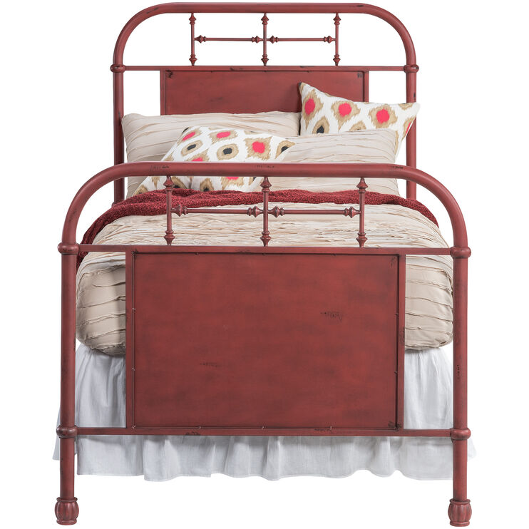 Vintage Red Twin Bed