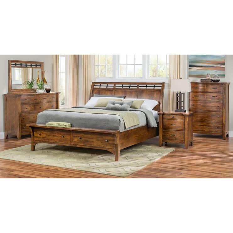Whistler Retreat Dark Walnut Queen Storage Bed