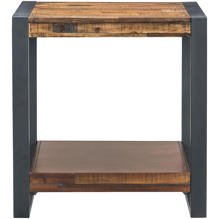 Loftworks Distressed Brown End Table