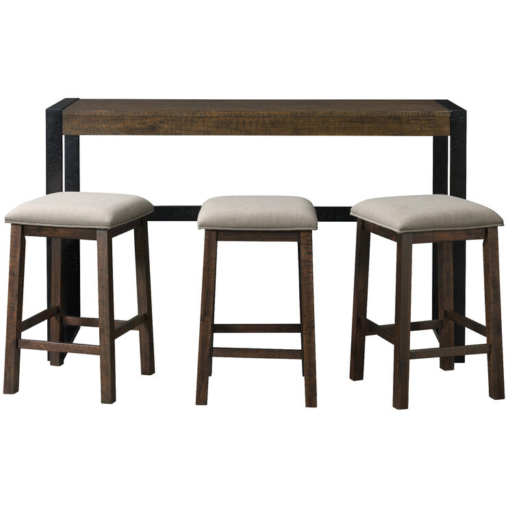Caesar Distressed Tobacco 4 Piece Bar with 3 Stools