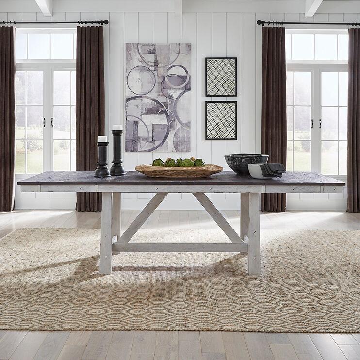 Farmhouse White Trestle Dining Table