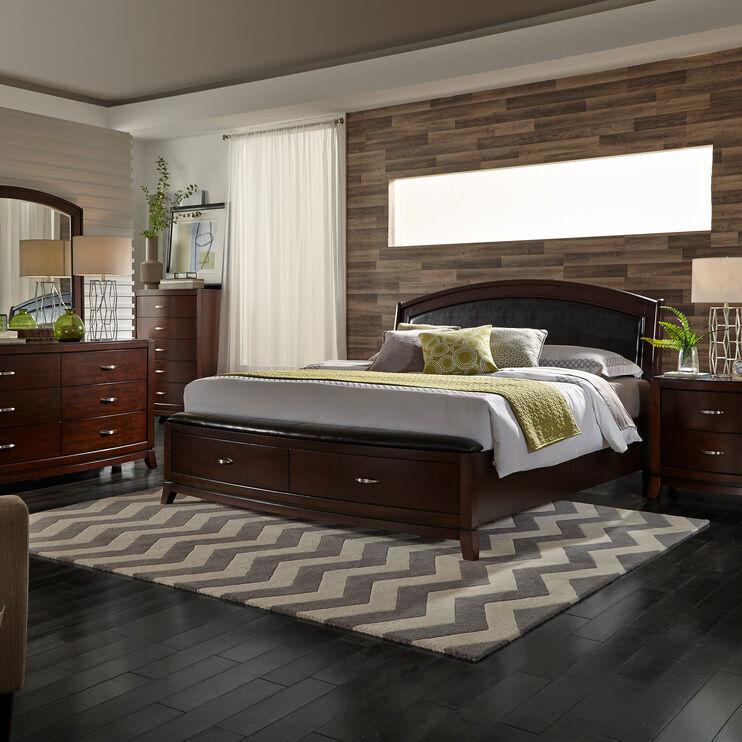 Avalon Dk Brown King Storage Bed