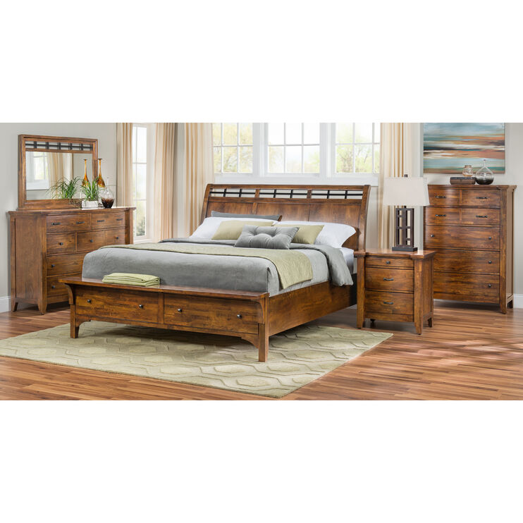 Whistler Retreat Dark Walnut Queen Storage Bed