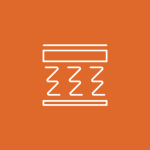 line drawn interpretation of the interior of an innerspring mattress in white on an orange background