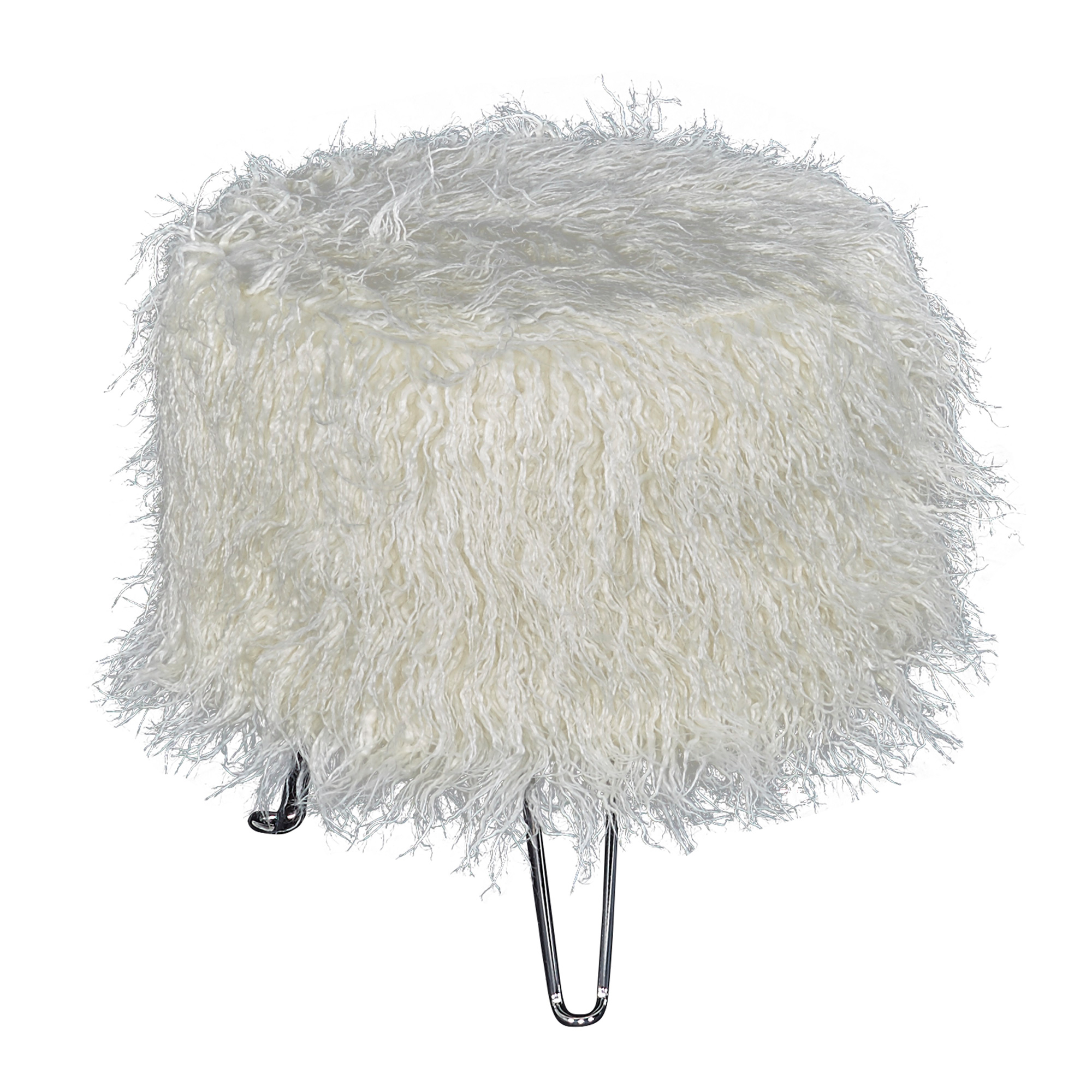 Powell | Picasso White Faux Fur Stool