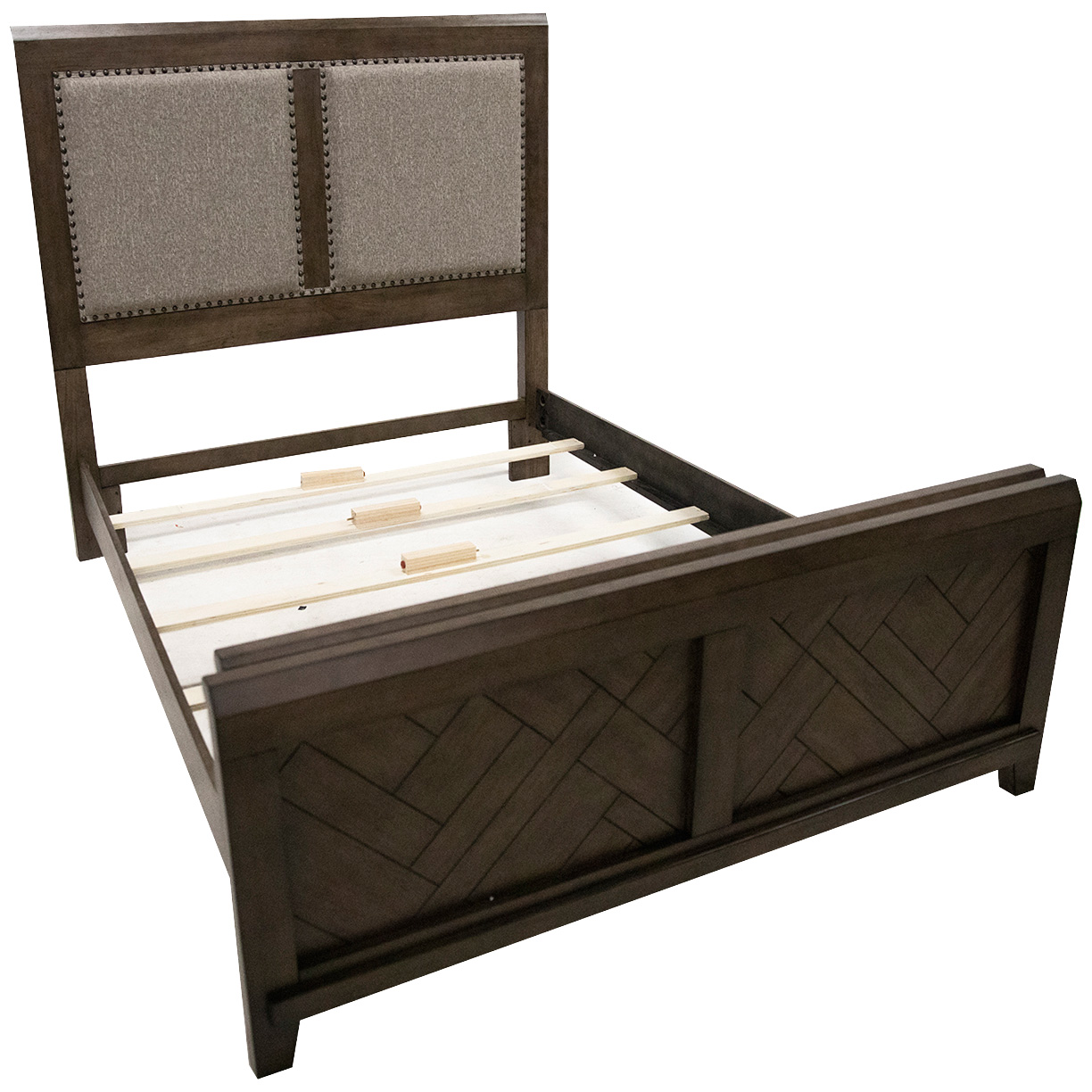 Davis Direct | Patches Gray Brown Queen Upholstered Panel Bed