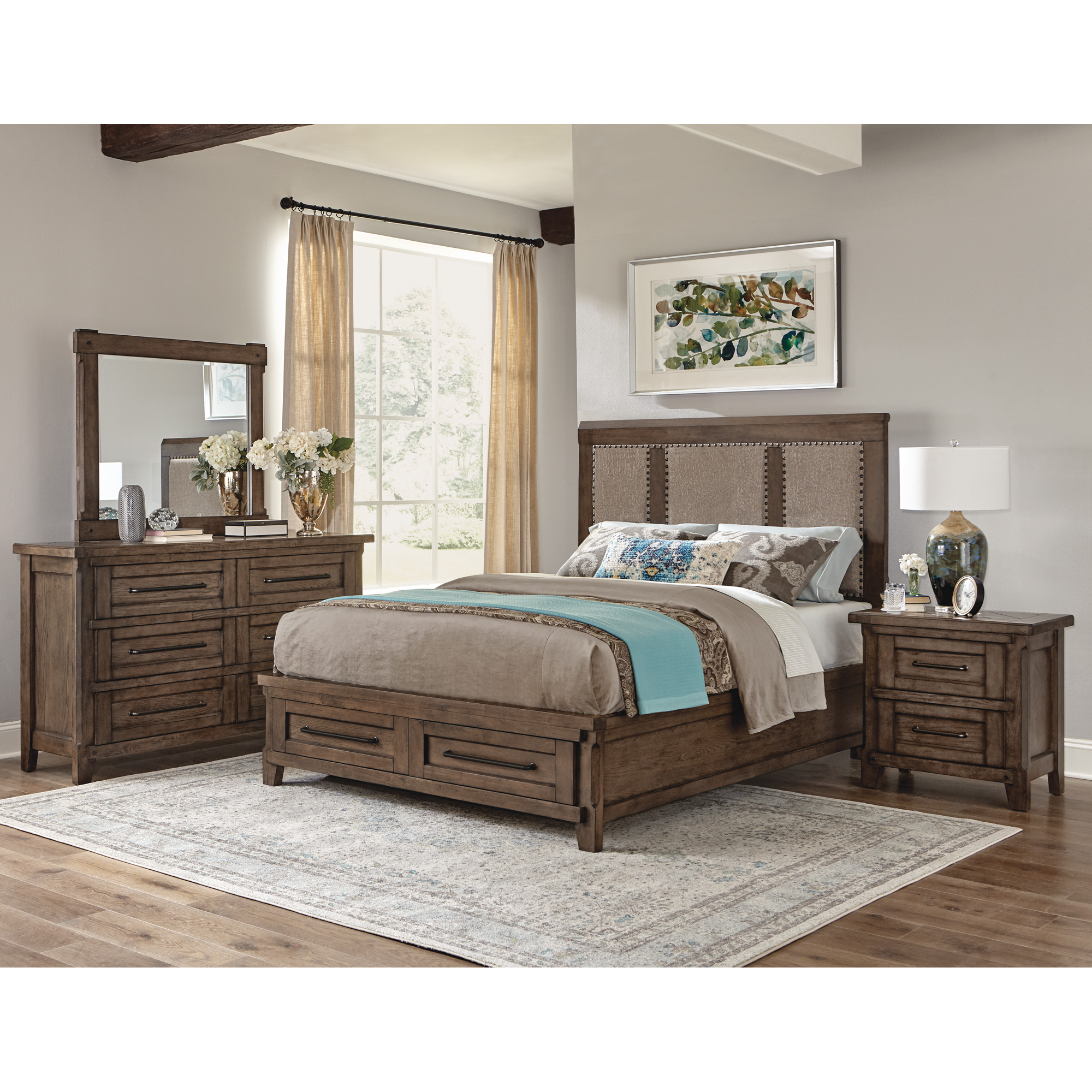 Davis Direct | Patches Gray Brown Queen Upholstered Storage 4 Piece Room Group Bedroom Set