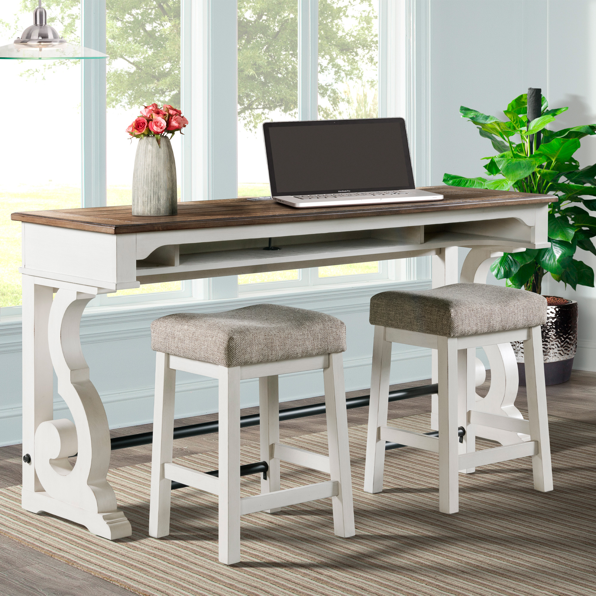 Intercon | Drake Rustic White Bar Table with 3 Stools