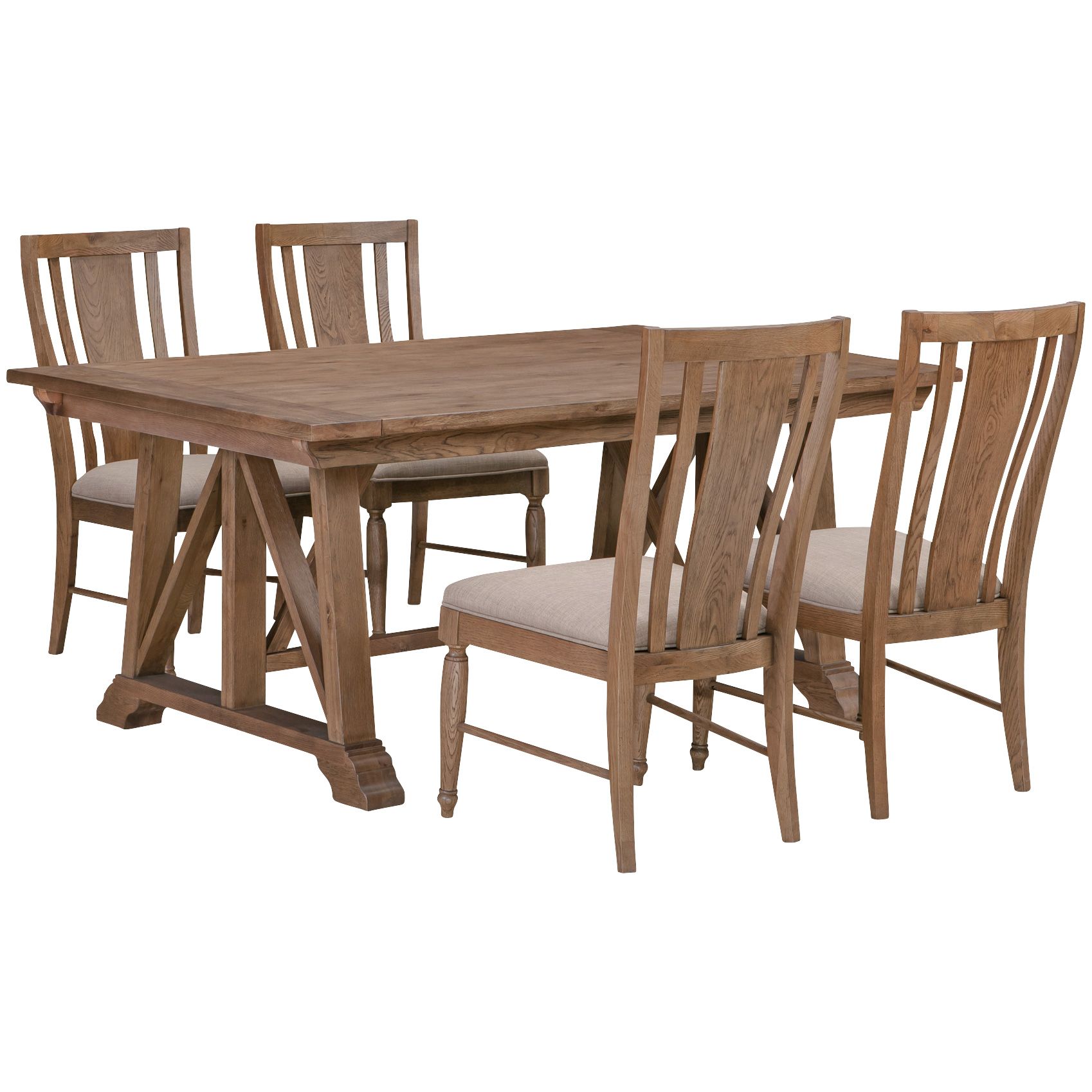 America | McMillian Heights Tawny 5 Piece Trestle Dining Set | Red