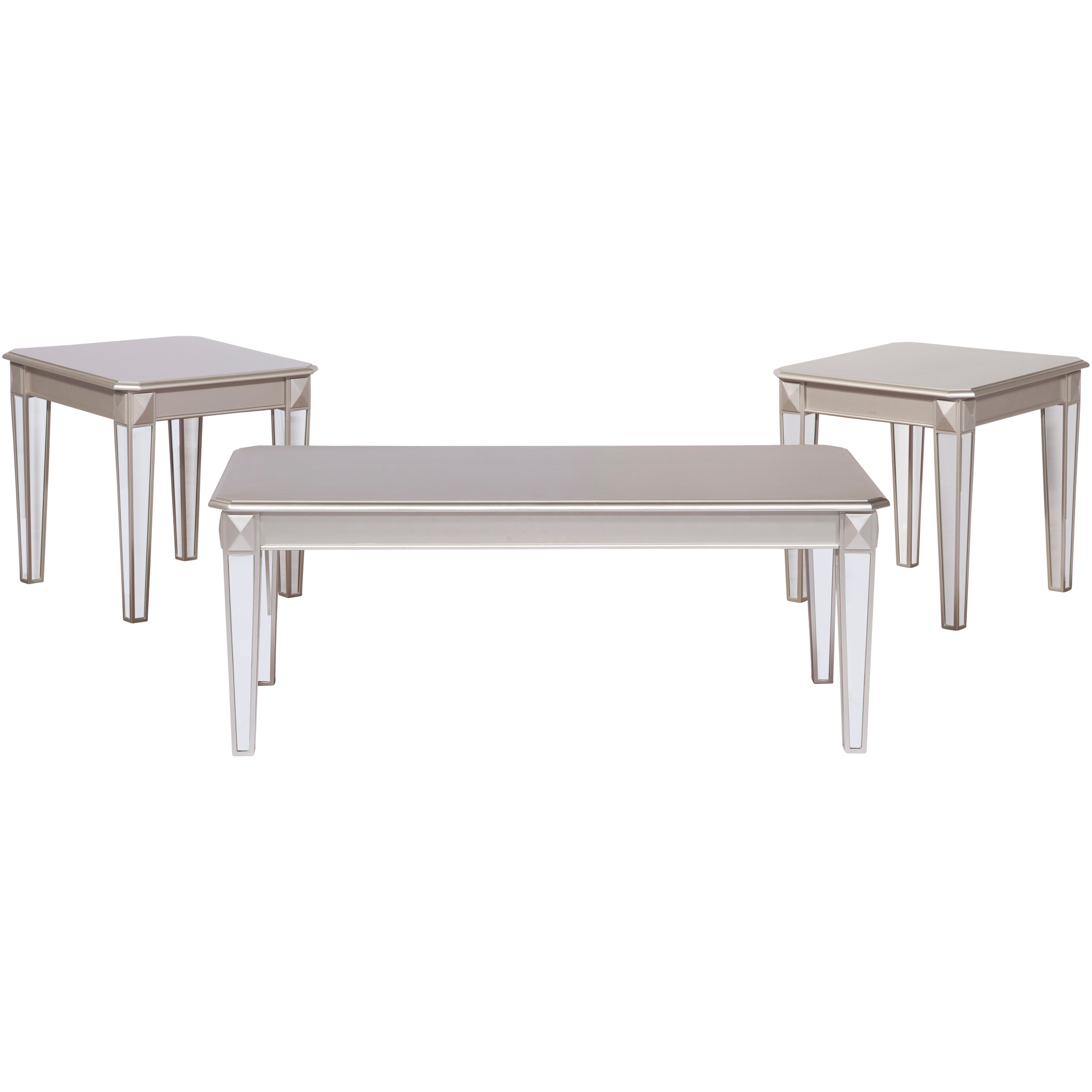 Serta Upholstery By Hughes Furniture | Alofast Champagne Set of 3 Tables