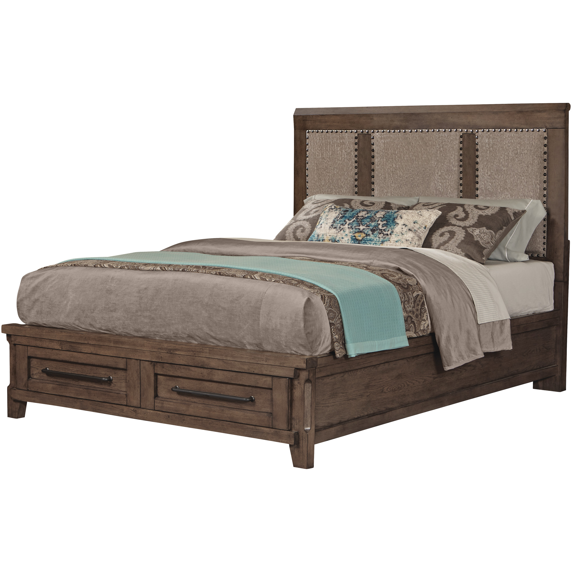 Davis Direct | Patches Gray Brown King Upholstered Storage Bed