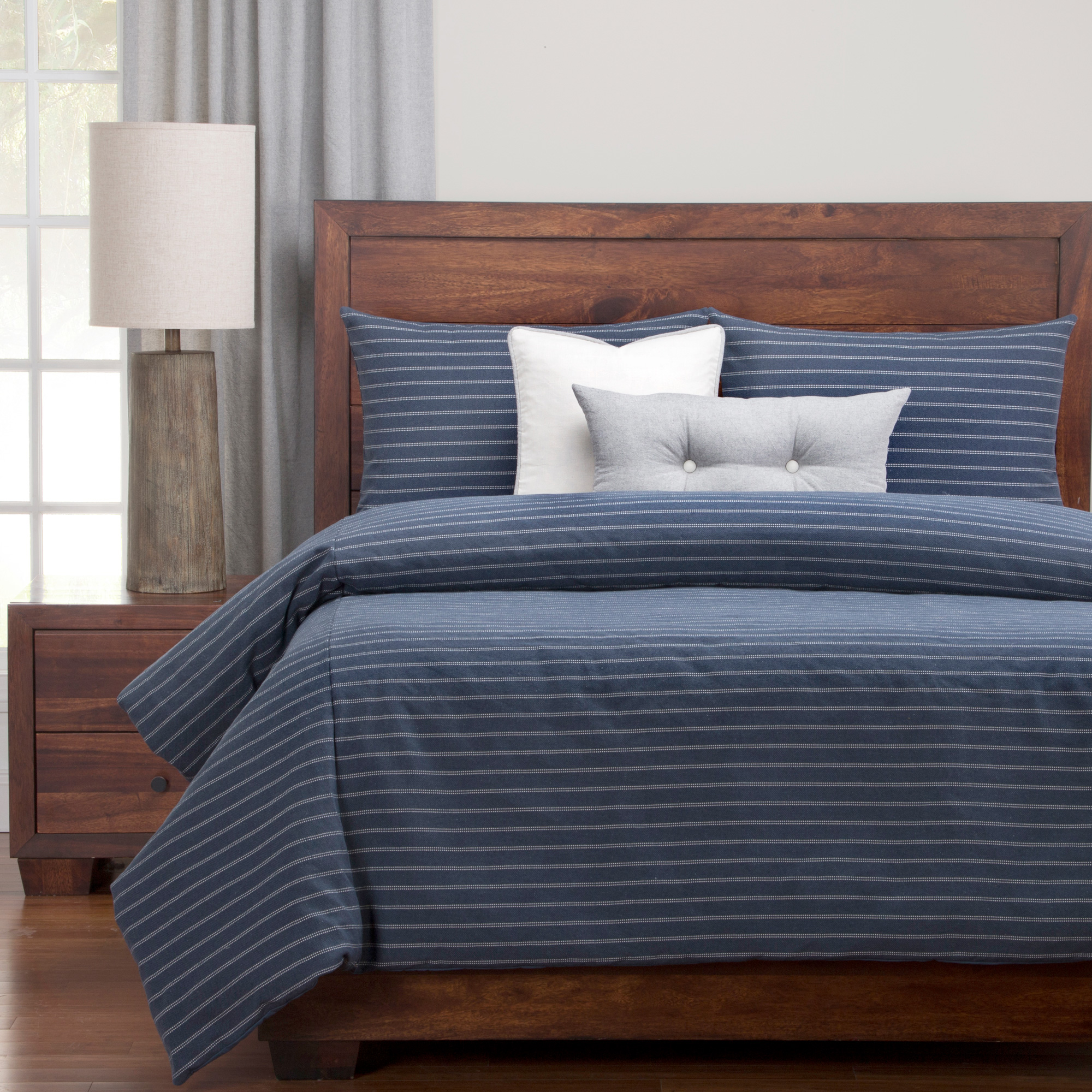 Sis Enterprises | Burlap Indigo King 6 Piece Duvet Set | Ivory