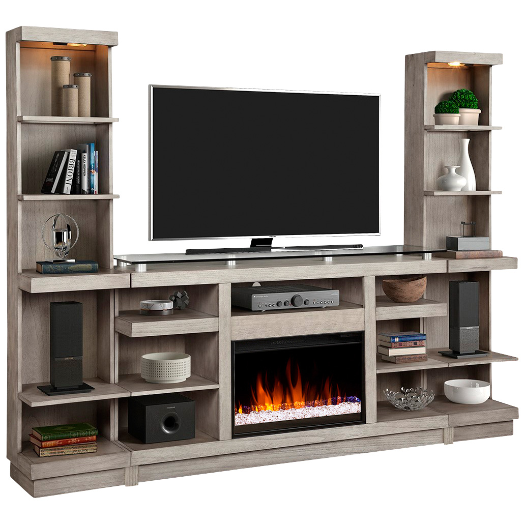 Legends Furniture | Celino Sandstone 3 Piece Fireplace Wall TV Stand