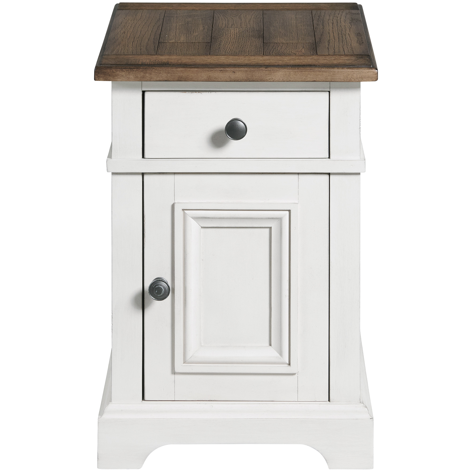 Intercon | Drake Rustic White and Stone Chairside Table