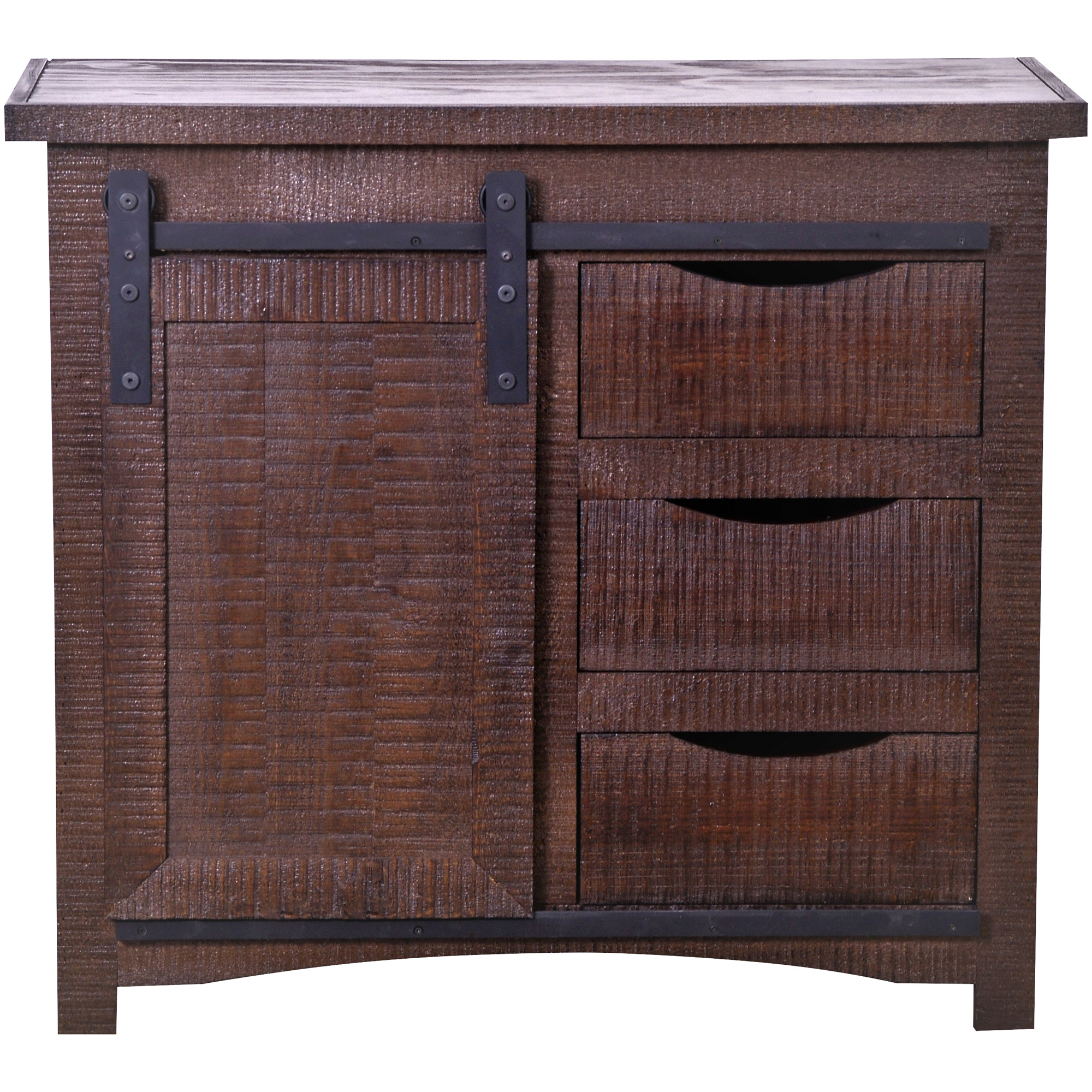 Kurio King | Barn Door Brown Accent Cabinet