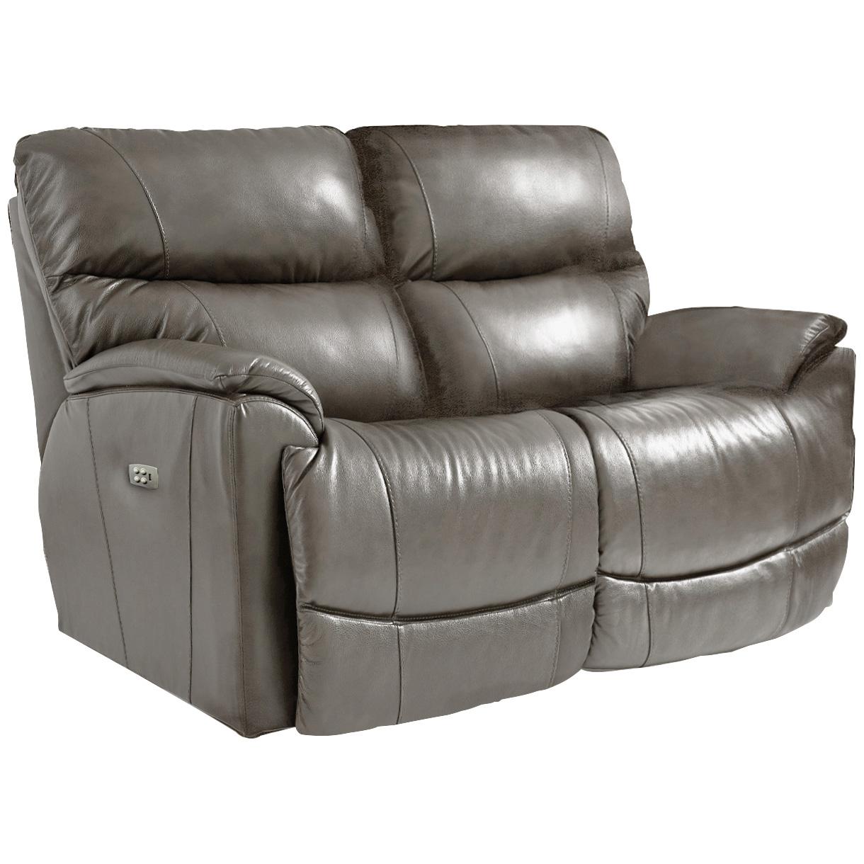 La-Z-Boy | Trouper Gray Leather Power Plus Reclining Loveseat Sofa