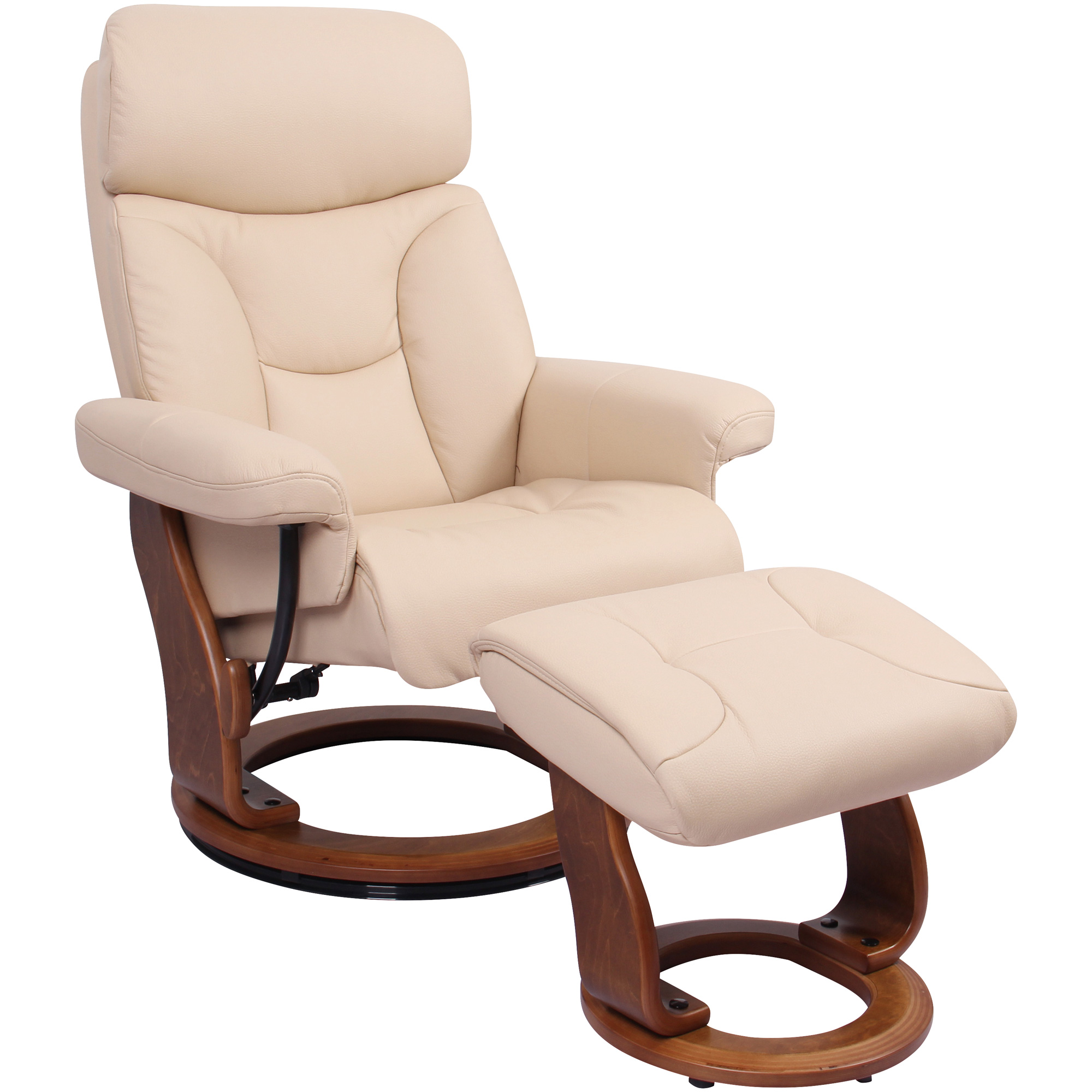 Benchmaster | Emmie Khaki Recliner Chair with Ottoman