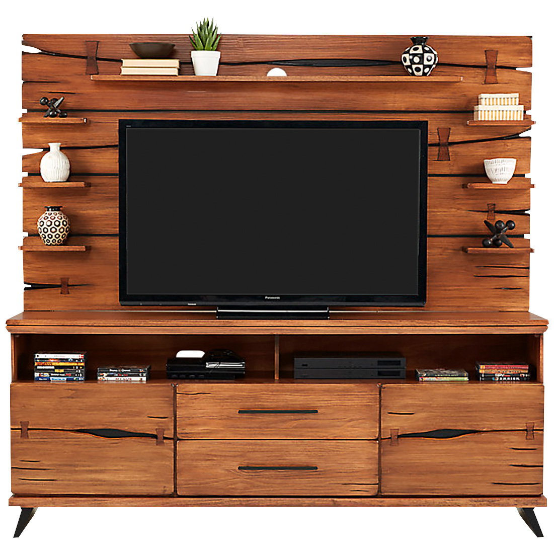 Rotta | Dana Point Rustic Brown 2 Piece Wall TV Stand