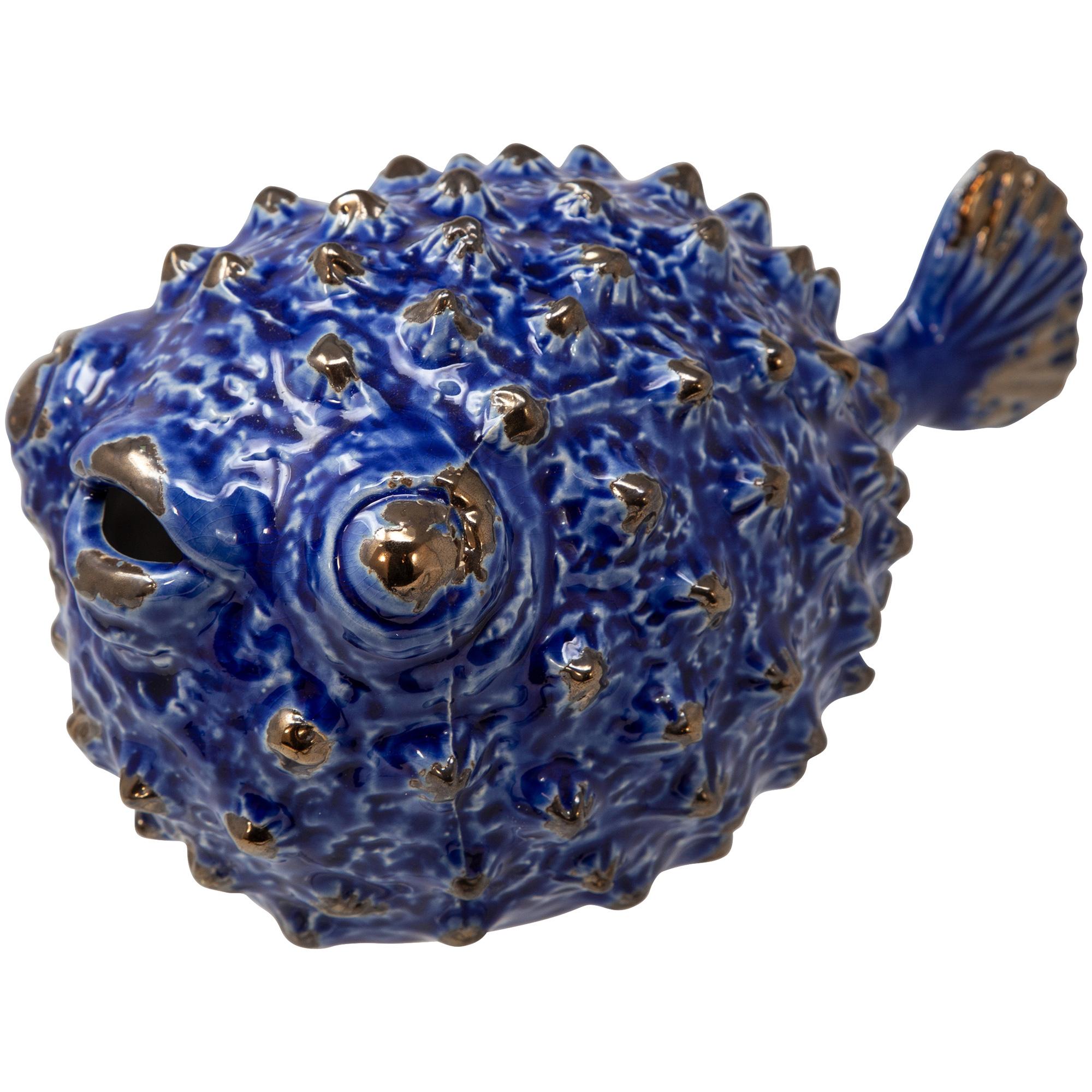 """Sagebrook | Collected Culture Blue Ceramic 8"""" Puffer Fish"""