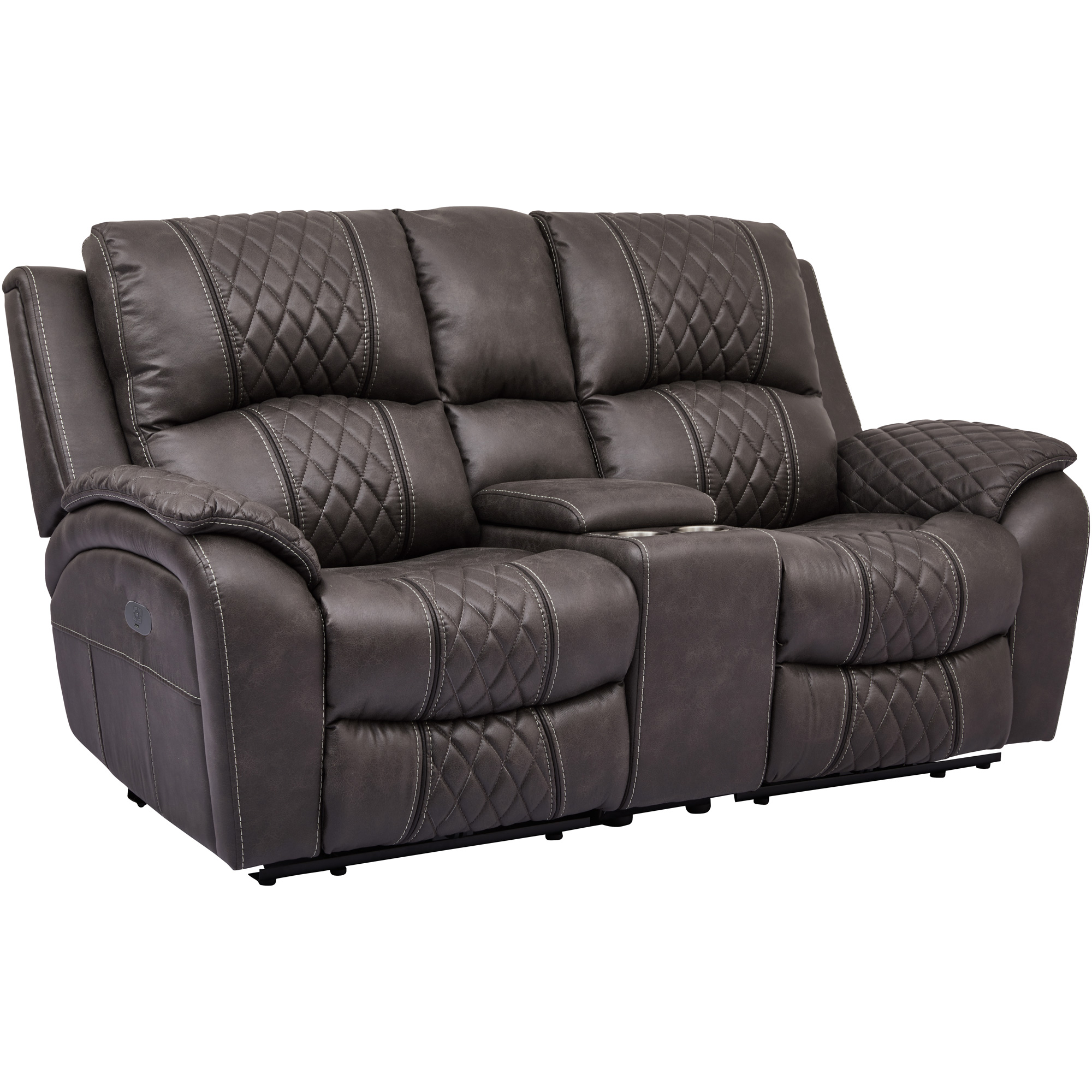 Wah Cheers | Starling Graphite Power Plus Reclining Console Loveseat Sofa