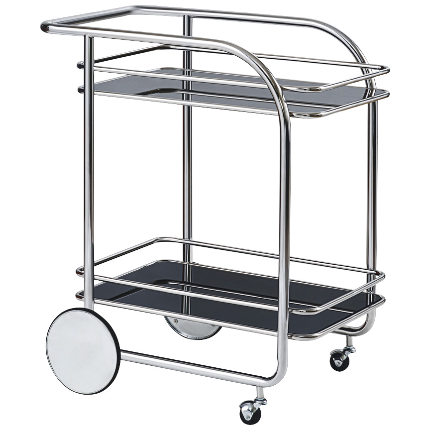 Bassett Mirror | Sidebar Chrome Bar Cart | Black